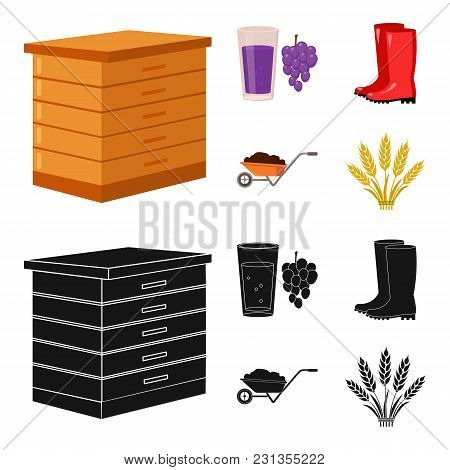 Hive, Grapes, Boots, Wheelbarrow.farm Set Collection Icons In Cartoon, Black Style Vector Symbol Sto
