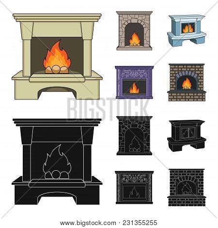 Fire, Warmth And Comfort.fireplace Set Collection Icons In Cartoon, Black Style Vector Symbol Stock