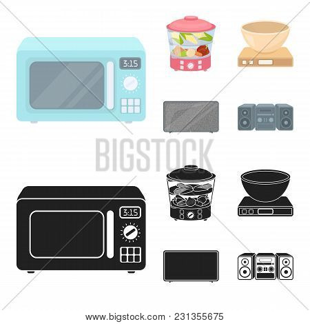 Steamer, Microwave Oven, Scales, Lcd Tv.household Set Collection Icons In Cartoon, Black Style Vecto