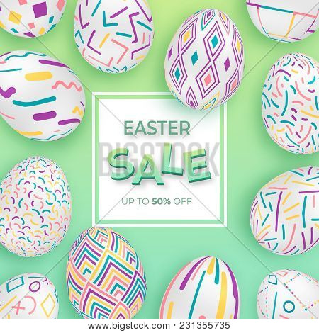 Easter Background With 3d Ornate Eggs On Green With Square Frame. Cute Vector Easter Banner Or Greet
