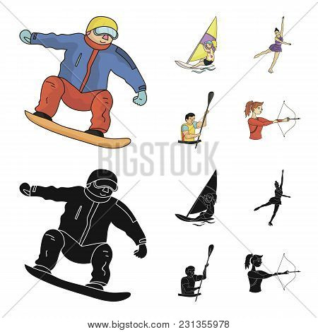 Snowboarding, Sailing Surfing, Figure Skating, Kayaking. Olympic Sports Set Collection Icons In Cart