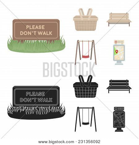 Lawn With A Sign, A Basket With Food, A Bench, A Swing. Park Set Collection Icons In Cartoon, Black