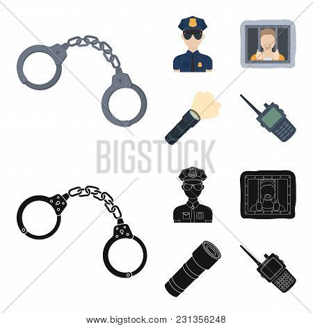 Handcuffs, Policeman, Prisoner, Flashlight.police Set Collection Icons In Cartoon, Black Style Vecto