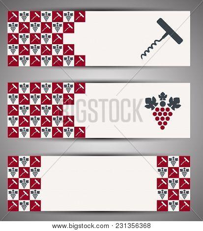 Set Of Creative Web Wine Banners. Vector Illustration