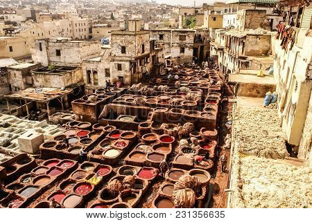 Tanneries Of Fes, Morocco, Africa Old Tanks Of The Fez's Tanneries With Color Paint For Leather, Mor