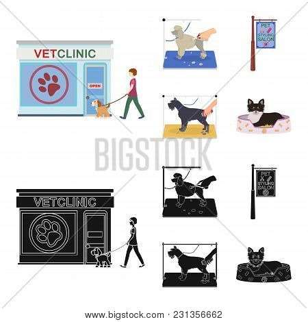 Visiting A Vet Clinic, A Signboard Of A Stylish Salon For A Pet, A Haircut Of Dogs. Vet Clinic And P