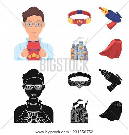 Man, Young, Glasses, And Other  Icon In Cartoon, Black Style. Superman, Belt, Gun Icons In Set Colle