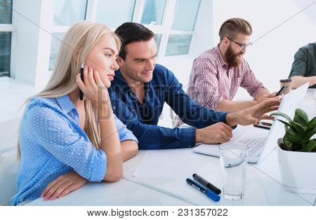 Business People In Office Connected On Internet Network With A Computer. Concept Of Startup Company