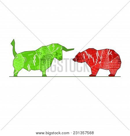 Green And Red Bull And Bear Silhouette Isolated On White Background