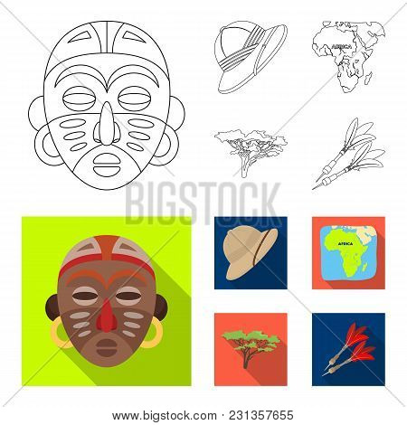 Cork Hat, Darts, Savannah Tree, Territory Map. African Safari Set Collection Icons In Outline, Flat