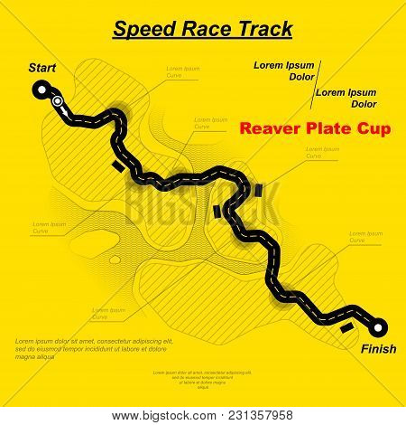 Yellow Background With Black Speed Race Circuit And Sample Text