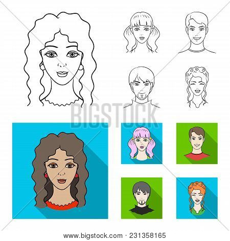 Different Looks Of Young People.avatar And Face Set Collection Icons In Outline, Flat Style Vector S