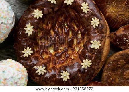 Traditional Russian Easter Baked Goods, Kulichi, Patties With Cottage Cheese, Karavai And Loaf Cake