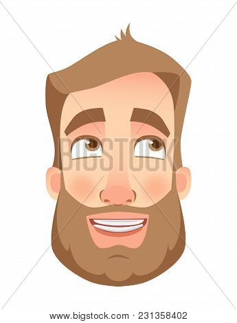 Man Face Expression. Human Emotions. Set Of Cartoon Vector Illustrations. Funny
