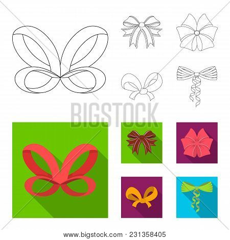 Bow, Ribbon, Decoration, And Other  Icon In Outline, Flat Style. Gift, Bows, Node, Icons In Set Coll