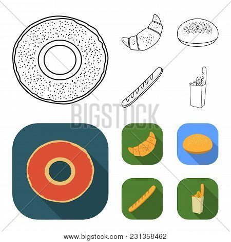 Rye Round Bread, A Croissant, A French Loaf, A Bag Of Bread.bread Set Collection Icons In Outline, F