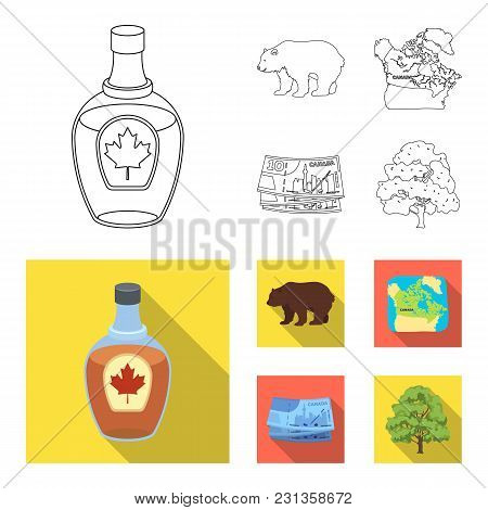 Canadian Dollar, Territory Map And Other Symbols Of The Country.canada Set Collection Icons In Outli