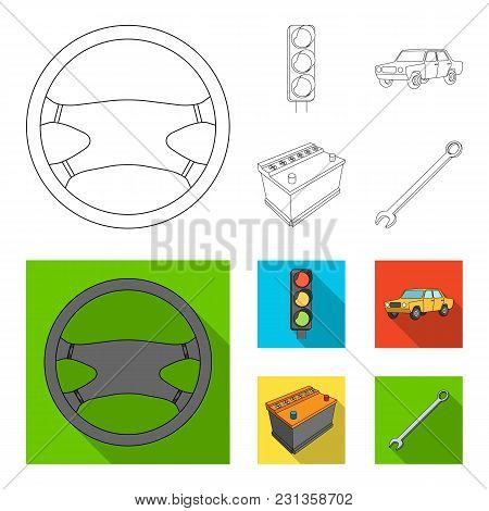 Traffic Light, Old Car, Battery, Wrench, Car Set Collection Icons In Outline, Flat Style Vector Symb