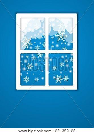Nature Landscape In The Window. Season Vector Illustration