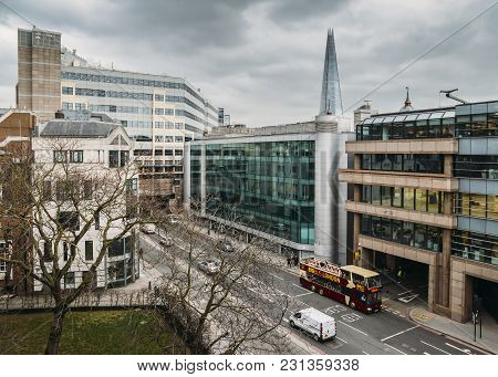 London, United Kingdom- March 13, 2018: London Skyline On Upper Thames Street In The City Of London,