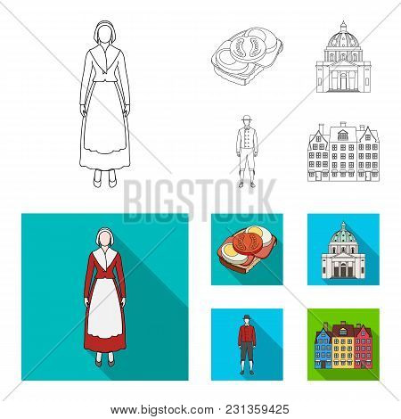 Denmark, History, Restaurant, And Other  Icon In Outline, Flat Style.sandwich, Food, Bread, Icons In