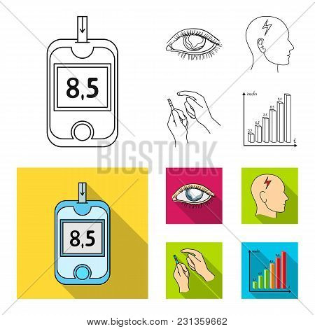 Poor Vision, Headache, Glucose Test, Insulin Dependence. Diabetic Set Collection Icons In Outline, F