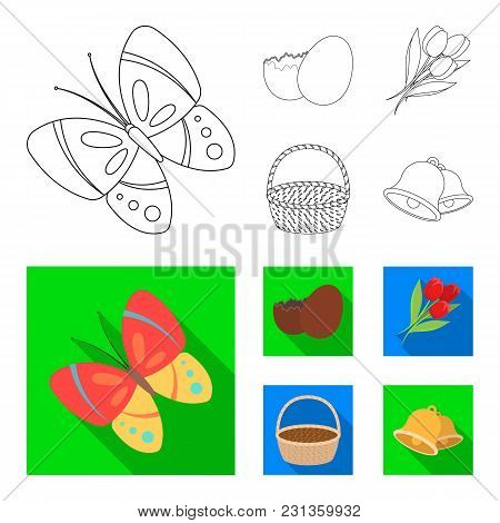 Chocolate Egg, Bells, Basket And Flowers.easter Set Collection Icons In Outline, Flat Style Vector S
