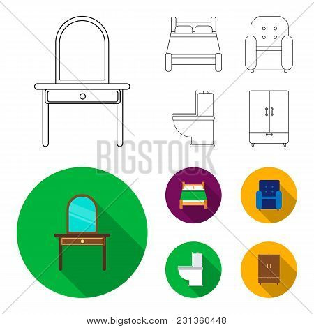 A Bed, An Armchair, A Toilet, A Wardrobe.furniturefurniture Set Collection Icons In Outline, Flat St