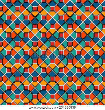 Repeated Octagons Stained Glass Mosaic Abstract Background. Vivid Colors Ceramic Tiles Wallpaper. Se