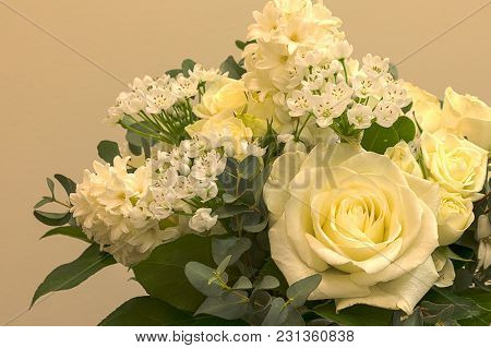 White Wedding Bouquet Of Flowers Including Roses