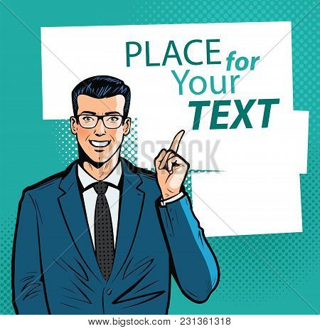 Happy Businessman Pointing Index Finger At Important Information. Business Concept. Cartoon Vector