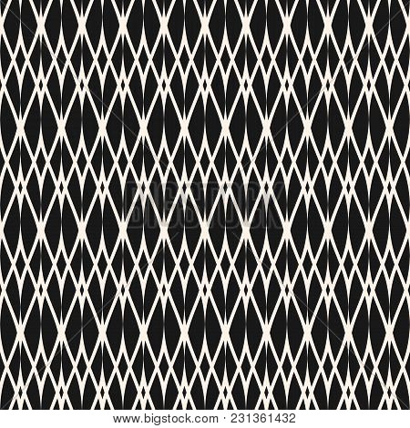 Vector Ornamental Seamless Pattern, Thin Wavy Lines. Texture Of Mesh, Lace, Weaving, Smooth Lattice,