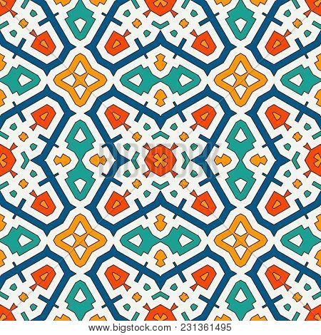 Colorful Kaleidoscope Abstract Background. Eclectic Mosaic Tile. Bright Seamless Surface Pattern Wit