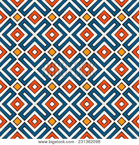 Seamless Pattern In Bright Colors. Ethnic And Tribal Motif. Repeated Geometric Forms. Colorful Ornam