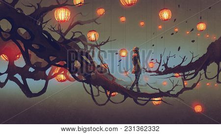 Man Walking On A Tree Branch With Many Red Lanterns On Background, Digital Art Style, Illustration P