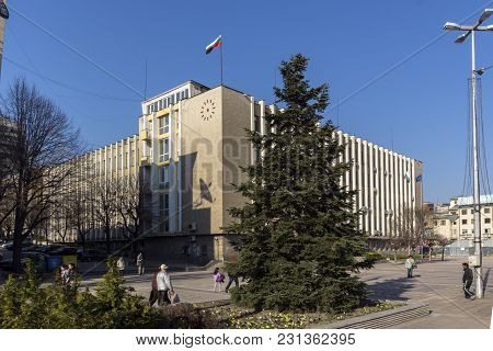 Haskovo, Bulgaria - March 15, 2014: Building Of District Administration In The Center Of City Of Has