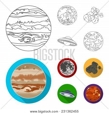 Moon, Venus Of The Planet Of The Solar System. Nil, A Meteorite. Planets Set Collection Icons In Out