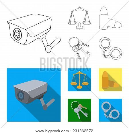 Scales Of Justice, Cartridges, A Bunch Of Keys, Handcuffs.prison Set Collection Icons In Outline, Fl