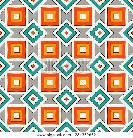 African Style Seamless Pattern With Geometric Figures. American Native Design Abstract Background. R
