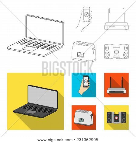 Home Appliances And Equipment Outline, Flat Icons In Set Collection For Design.modern Household Appl