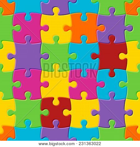 Colorful Seamless Puzzle Background. Symbol Of Autism. Vector Illustration