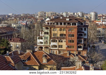Haskovo, Bulgaria - March 15, 2014: Amazing Panoramic View Of City Of Haskovo - From Monument Of Vir