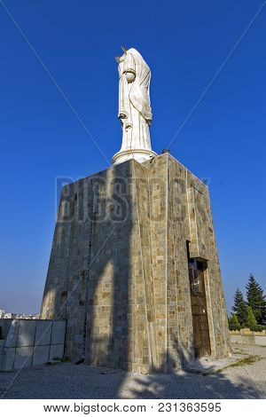 Haskovo, Bulgaria - March 15, 2014: The Biggest Monument Of Virgin Mary In The World In City Of Hask