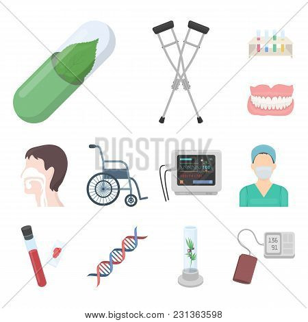 Medicine And Treatment Cartoon Icons In Set Collection For Design. Medicine And Equipment Vector Sym