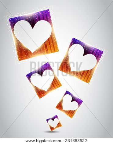 Hearts Inside The Squares. Vector Illustration About Love
