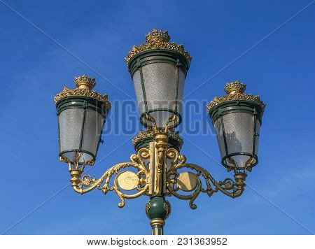 Vintage Lamp On The Street. Lantern Street Light Candelabra