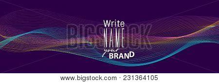 Horizontal Neon Blend Business Banner. Vector Line Illustration Poster. Geometric Cover Template. Ul