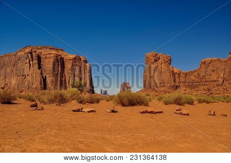 View Of The Red Rock Formations In Iconic Monument Valley In Arizona
