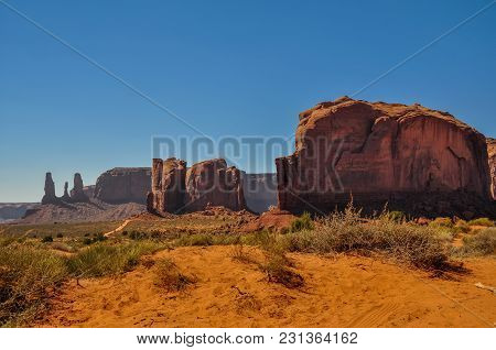 Elephant Butte, Rock Formation, In Iconic Monument Valley, Arizona