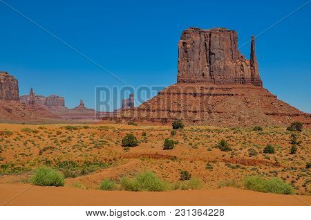 The West Mitten Butte, Rock Formation, In Monument Valley, Arizona